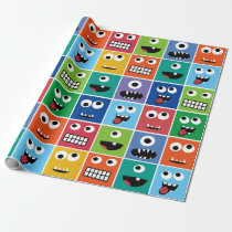 Kids Monsters Pattern Monster Faces Colorful Funny Wrapping Paper