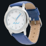 "Kids Name Blue Leather Strap Boys Custom Watch<br><div class=""desc"">Custom, personalized, kids boys fun cool stylish snazzy blue leather strap, stainless steel case, wrist watch. Simply type in the name. Go ahead create a wonderful, custom watch for the lil boy in your life - son, brother, nephew, grandson, godson, stepson. Makes a great custom gift for birthday, graduation, christmas,...</div>"