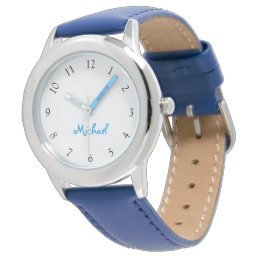Kids Name Blue Leather Strap Boys Custom Watch