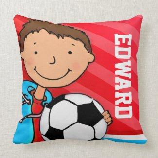 Kids name boys football soccer red blue pillow