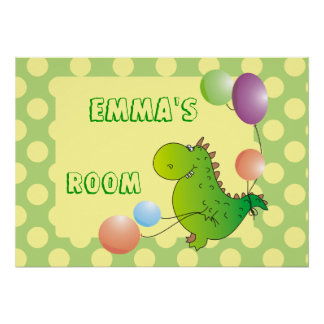 Kids Name Custom Dragon with Balloon Posters