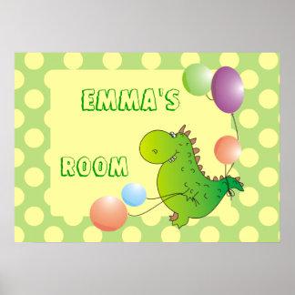 Kids Name Custom Dragon with Balloon Posters