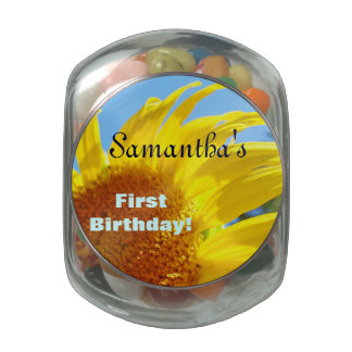 Kid's Name First Birthday Favors Jelly Belly Candy Glass Candy Jar