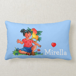 Kids name Girl with Parrot - Pillow