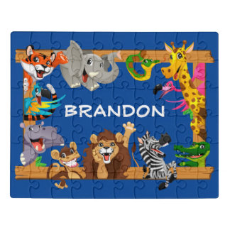 Kids Name Jungle Safari Cute Animals Blue Jigsaw Puzzle