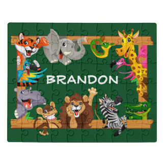 Kids Name Jungle Safari Cute Animals Green Jigsaw Puzzle