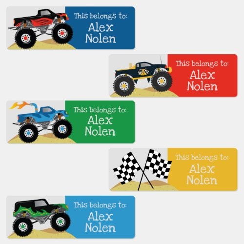 Kids Name Labels for School Supplies Monster Truck