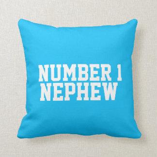 Kids name nephew football soccer red blue pillow