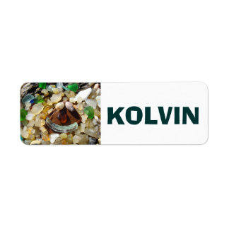 Kid's Name on sticker Labels Smiley Face Beach