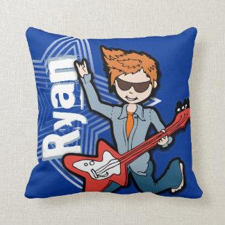 Kids name rockstar guitar boy bright blue pillow