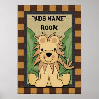 Kids name room poster Lion