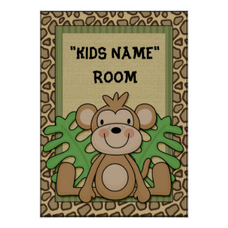 Kids Name room poster monkey