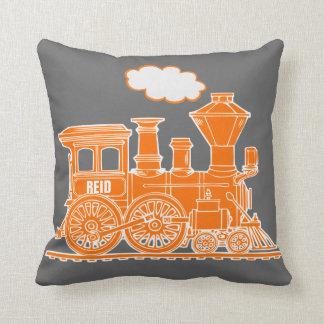 Kids name steam train orange grey throw pillow