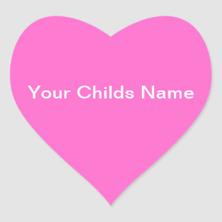 Kids Name Sticker Heart Personalized Pink White