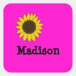 Kids Name Sunflower Stickers