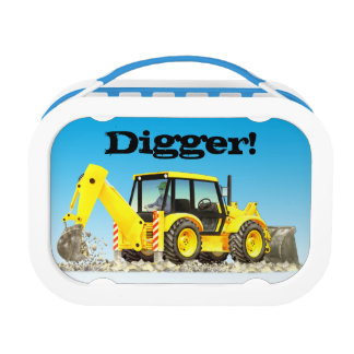 Kid's Name Yellow Backhoe Digger Construction Lunch Box