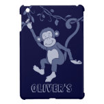 Kids named blue swinging monkey ipad mini case