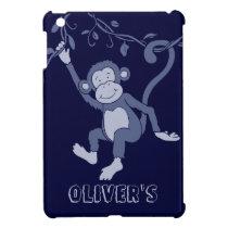 Kids named blue swinging monkey ipad mini case