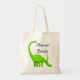 Kids named id green dinosaur book tote bag