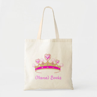 Kids named id princess crown book tote bag
