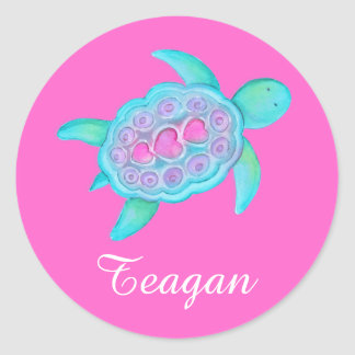 Kids named ID turtle hearts pink stickers x4 or 20