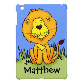 Kids named lion face blue ipad mini case
