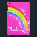 """Kids named rainbow bright pink ipad mini cover<br><div class=""""desc"""">Perfect to protect your kids ipad mini. Add your name to this ipad case. Currently reads Hailey. This original girls rainbow graphic case is designed by Sarah Trett.</div>"""