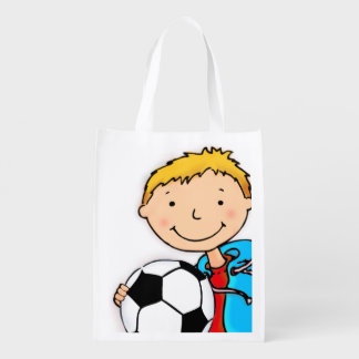 Kids named Soccer boy blonde library book bag Market Totes