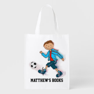 Kids named Soccer boy library book bag Reusable Grocery Bag