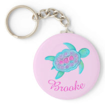 Kids named turtle whimsical art keychain