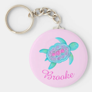 Kids named turtle whimsical art keychain keychain