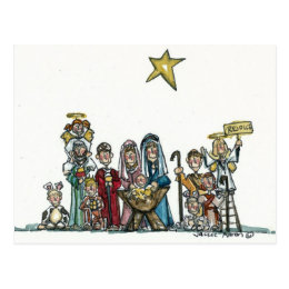 kids nativity scene postcard