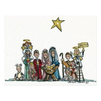 kids nativity scene postcard
