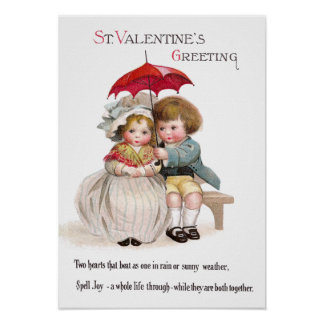 Kids 'Neath Umbrella Vintage Valentine Poster