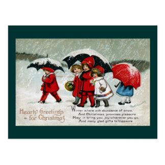 Kids Neath Umbrellas in the Snow Post Card
