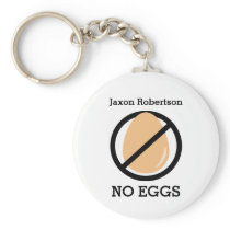 Kids No Eggs Allergy Alert Personalized Keychain