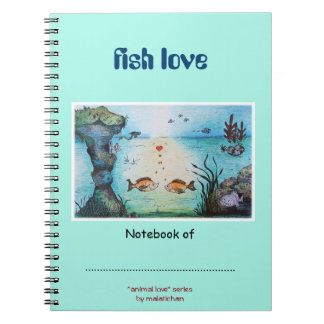 "Kids Notebook with ""Fish Love"" drawing"