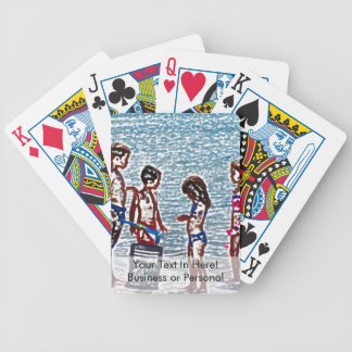 kids on beach sketch playing in sand bicycle playing cards