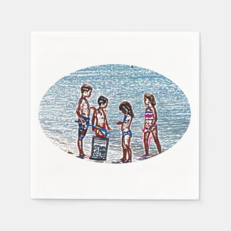 kids on beach sketch playing in sand disposable napkins