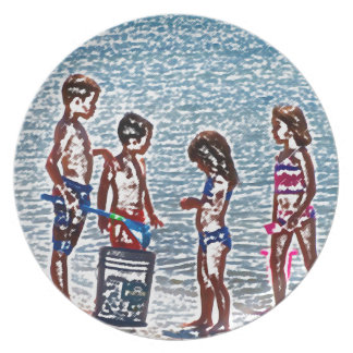 kids on beach sketch playing in sand plates
