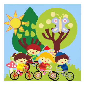 Kids on Bikes 5.25x5.25 Square Paper Invitation Card