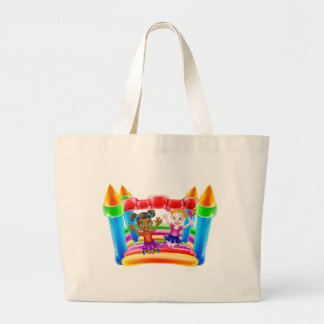Kids on Bouncy Castle Large Tote Bag