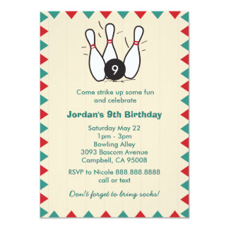 Kid's or Adults Retro Bowling Birthday Party 4.5x6.25 Paper Invitation Card