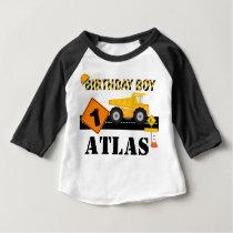 Kids or Toddler Construction Birthday Raglan Shirt
