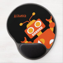 Kids Orange Black Robot Personalized Cool Modern Gel Mouse Pad