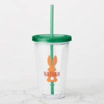 Kids Orange Bunny Silhouette Personalized Cute Acrylic Tumbler