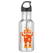 Kids Orange Crazy Boy Robot Personalized Water Bottle