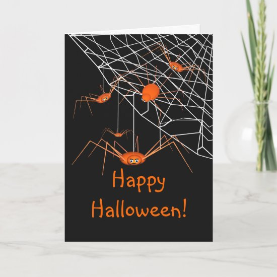 Kids Orange Halloween Spiders Card