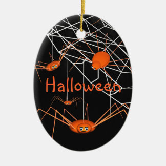 Kids Orange Halloween Spiders Ceramic Ornament
