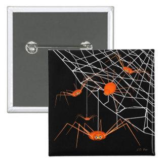 Kids Orange Halloween Spiders Pinback Button